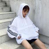 女裝2018春季新款韓版寬松拉鏈套頭連帽外套女條紋長袖風衣學生潮