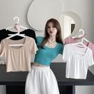 露臍上衣 短款上衣女2021年新款辣妹修身打底夏季性感露臍白色緊身短袖T恤 韓國時尚 618
