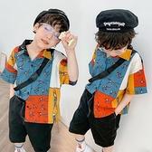 男童襯衫-個性男童花襯衫2020新款中大童襯衫夏季上衣短袖襯衣韓版兒童裝潮