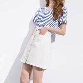 牛仔裙短裙女新品顯瘦百搭a字裙夏季高腰正韓黑白色單排扣半身