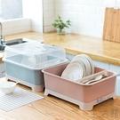 {大號}廚房碗柜塑料瀝水碗架帶蓋碗筷餐具收納盒置物架【極簡生活】