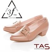 TAS 異 拼接寬版扣帶低跟鞋氣質卡其