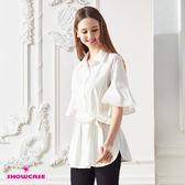 【SHOWCASE】氣質波浪袖綁帶長版修身襯衫(白)