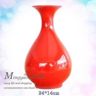 紅花瓶 陶瓷 工藝品 時尚結婚禮物 送禮佳品 客廳裝飾 賞瓶