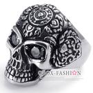 《 QBOX 》FASHION 飾品【R10022477】精緻龐克風圖騰骷髏頭鑲鋯石鑄造鈦鋼戒指/戒環