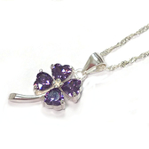 紫色鋯石幸運草純銀項鍊