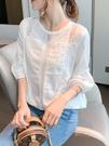 泡泡袖洋裝 雪紡上衣女2021春夏新款時尚燈籠袖襯衫寬鬆蕾絲打底遮肚洋氣小衫 【618 大促】
