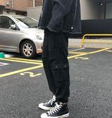 休閒工裝褲男韓版寬鬆黑色束腳褲九分褲子男韓版潮流百搭