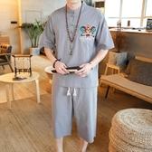 刺繡套裝男 夏裝盤扣短袖t恤 中國風 休閒漢服民族風棉麻兩件套 初秋新品