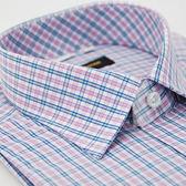 【金‧安德森】粉色格紋窄版短袖襯衫