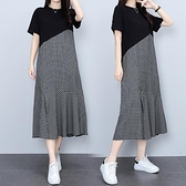 洋裝拼接裙子中大尺碼M-4XLT卹裙連身裙氣質顯瘦格子拼接荷葉邊長裙4F101-8859.胖妹大碼