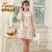 廚房工作帶袖圍裙長袖純棉韓版全棉