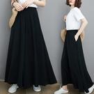 寬管褲 大碼女裝胖mm夏裝新款顯瘦褲子胖妹妹寬鬆洋氣不顯胯寬的闊腿褲裙
