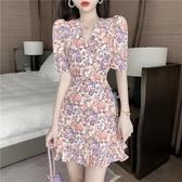 碎花洋裝 法式小個子收腰顯瘦碎花魚尾裙夏季正韓 連身裙女裝-Ballet朵朵