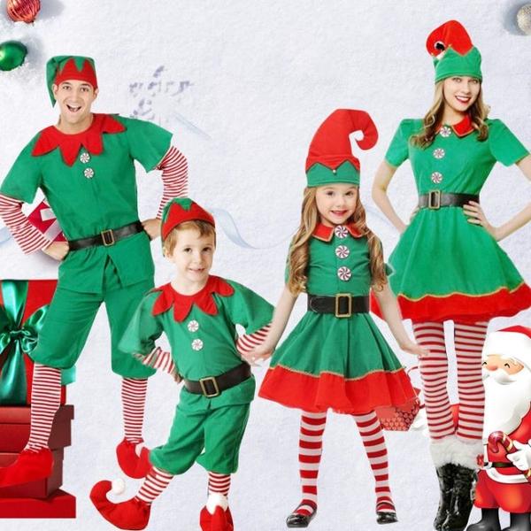 圣誕節兒童服裝男女童套裝圣誕精靈表演服幼兒園衣服親子演出衣服快速出貨