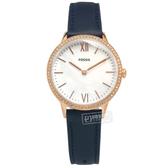 FOSSIL / FS5569 / 珍珠母貝 晶鑽鑲圈 礦石強化玻璃 日本機芯 真皮手錶 銀x玫瑰金框x深藍 30mm