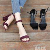 一字扣涼鞋女粗跟2018夏季新款中跟羅馬鞋韓版黑色高跟41chic女鞋 藍嵐