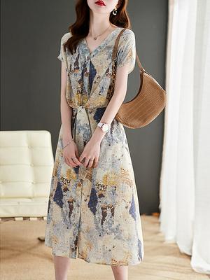 S-2XL洋裝連身裙~優雅靜謐紫!輕盈女人味~抽象油畫印花連身裙V領GD303愛尚布衣