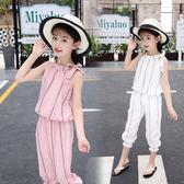 女童套裝夏裝2018新款韓版潮童裝中大童洋氣兒童時髦透氣兩件套 qf756【黑色妹妹】