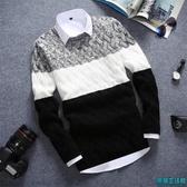 春秋季新款男士圓領針織衫長袖T恤潮流修身加厚毛衣打底小衫