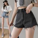 VK精品服飾 韓國風毛邊牛仔高腰寬鬆顯瘦黑色寬口單品短褲