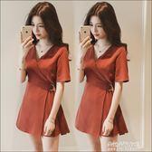 女裙子新款休閒韓版chic風高腰小個子短裙V領a字洋裝  朵拉朵衣櫥