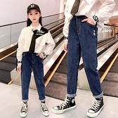 女童牛仔褲子加絨2020新款兒童寬鬆一體絨長褲中大童秋冬裝洋氣褲  【端午節特惠】