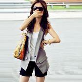 韓版中長款黑西裝馬甲女薄背心夏季坎肩外套