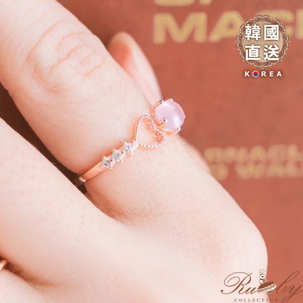 戒指 韓國直送‧鏤空愛心水鑽蛋白石戒指-Ruby s 露比午茶