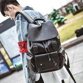 雙肩包男韓版皮質時尚個性休閒潮流背包學生大書包男士旅行英倫包       伊芙莎