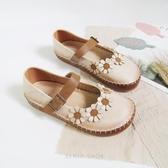 森女系春季新款復古平底鞋拼色復古一字帶扣單鞋學院風大頭娃娃鞋 居享優品