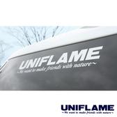 【日本 UNIFLAME】UNIFLAME 貼紙『白色』U690079 露營.抗UV.防退色汽車貼紙.標籤.LOGO