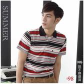 【大盤大】(P01503) 短袖POLO衫 M號 NG恕不退換 男 條紋休閒衫 透氣工作服 口袋 運動 舒適 上班