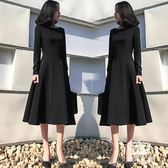 長袖洋裝 小黑裙 韓版黑色連身裙圓領大擺長裙【艾米潮品館】