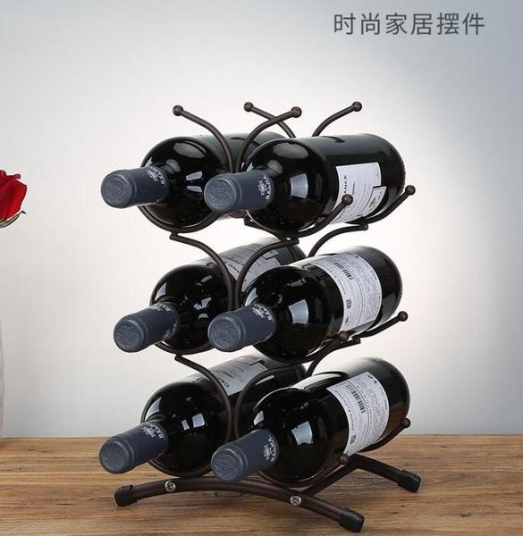 歐式紅酒架擺件簡約創意葡萄酒瓶架子酒柜裝飾品擺件酒瓶架家用 暖心生活館