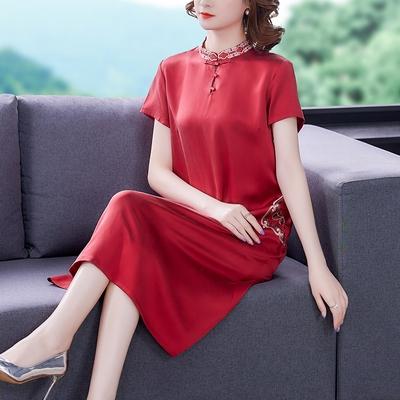 L-5XL胖媽媽大碼洋裝連身裙~中國風過真絲改良旗袍裙中年刺繡媽媽婚禮禮服婆婆婚宴裙H307A