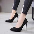 11cm超高跟鞋41大碼43碼胖腳女鞋黑色絨面淺口尖頭細跟  『優尚良品』
