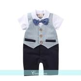 全館83折嬰兒衣服時尚小西裝男寶寶夏季裝嬰兒假兩件連體衣開檔哈服爬服