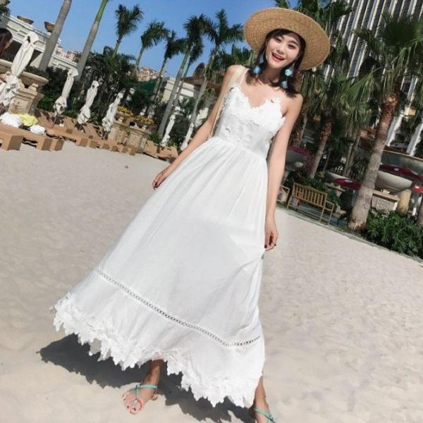 梨卡★現貨 - 天使海邊度假性感細肩露背帶縮腰連身裙連身長裙洋裝沙灘裙C6213