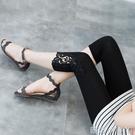 莫代爾七分打底褲女薄款夏季彈性大碼黑色灰色松緊腰蕾絲邊可外穿 蘿莉小腳丫