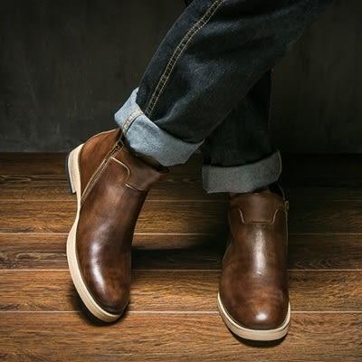真皮中筒靴-加絨純羊毛保暖側拉鍊英倫風男靴子2色73kk23[巴黎精品]