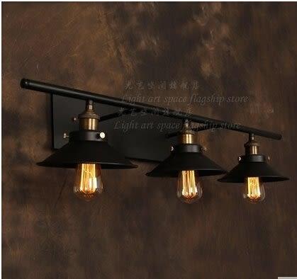 設計師美術精品館美式鄉村客廳三頭鐵藝壁燈歐酒吧複古臥室鏡前兩頭壁燈裝飾燈具