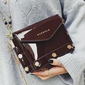 包包女新款時尚漆皮休閒鉚釘百搭鍊條單肩斜挎女包