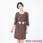 【RED HOUSE 蕾赫斯】蕾絲蝴蝶結點點洋裝(共兩色)