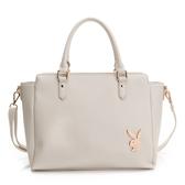 PLAYBOY- 手提包可斜背 經典兔頭系列-米白色