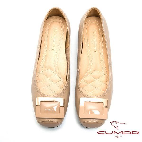 ★2016秋冬★【CUMAR】法式優雅-方形飾釦小方頭平底鞋(粉紅色)