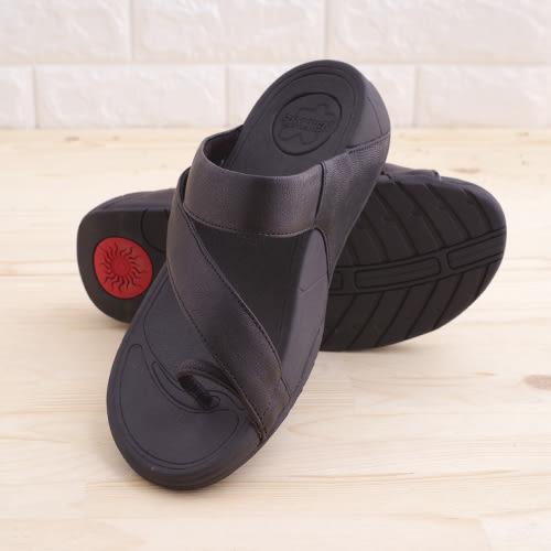 真皮男涼鞋 黑 平底休閒 真皮涼鞋 海灘鞋 拖鞋 韓國 韓系《生活美學》