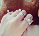 韓版  孔孝真同款珍珠個性開口5件一組銀色戒指。【BeautyBox】O1603S1004