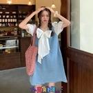 牛仔洋裝 短袖洋裝牛仔裙拼接泡泡袖連身裙女2021年新款夏季蝴蝶結甜美裙子短裙夏天 寶貝計畫