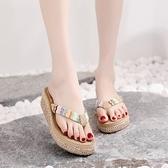 可下水新款涼拖鞋女夏時尚休閑外穿人字拖厚底鬆糕夾腳海邊沙灘鞋 依凡卡時尚